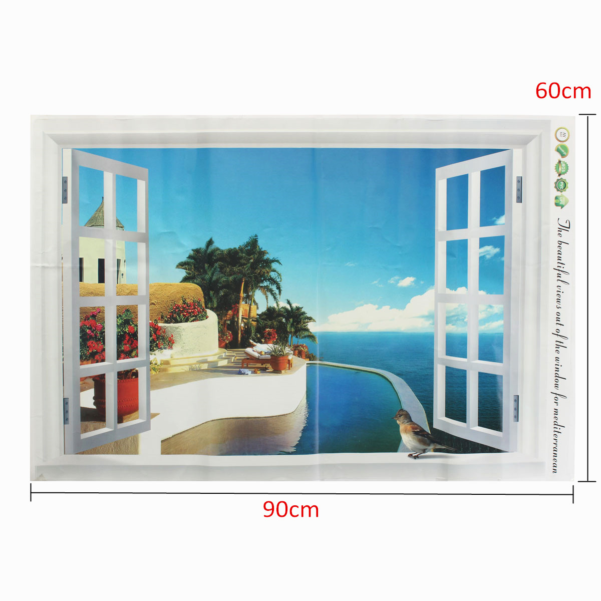 Home decor 3d window decal wall sticker exotic beach view for Home decor 3d stickers