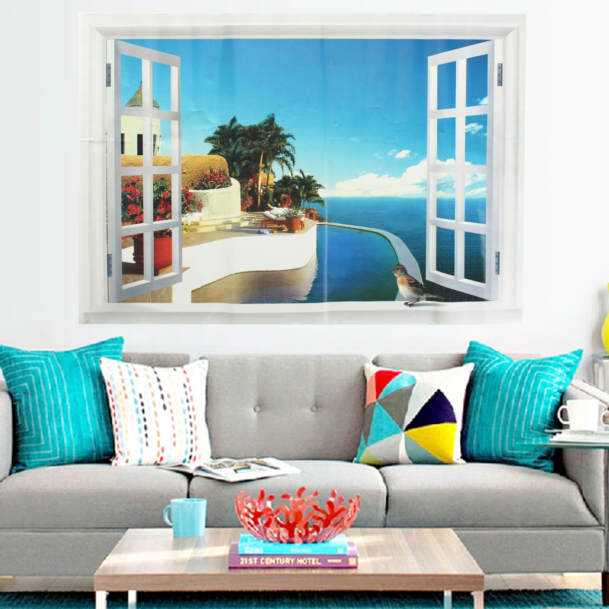 Home decor 3d window decal wall sticker exotic beach view for Home decor 3d