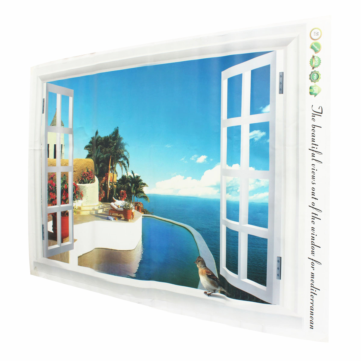 Home decor 3d window decal wall sticker exotic beach view for 3d wall art wallpaper