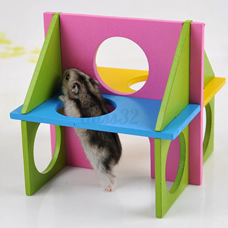 Toys For Exercise : Wooden house villa cage exercise toy for hamster hedgehog