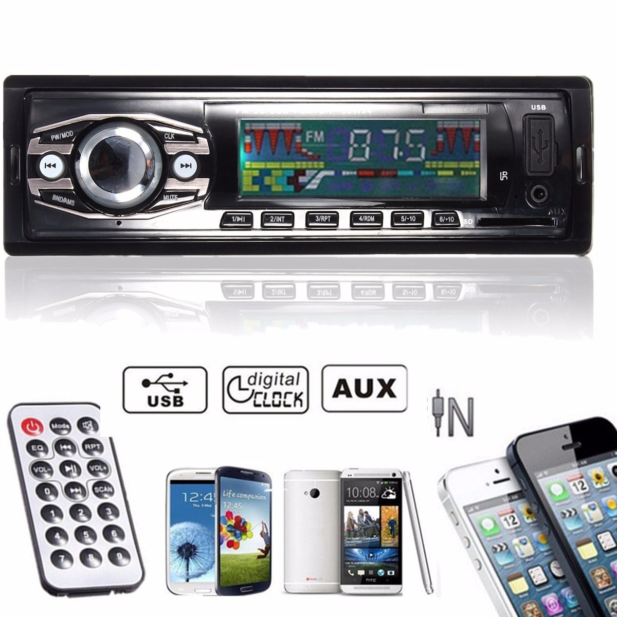 voiture autoradio audio stereo in dash mp3 radio lecteur fm usb sd aux recepteur. Black Bedroom Furniture Sets. Home Design Ideas
