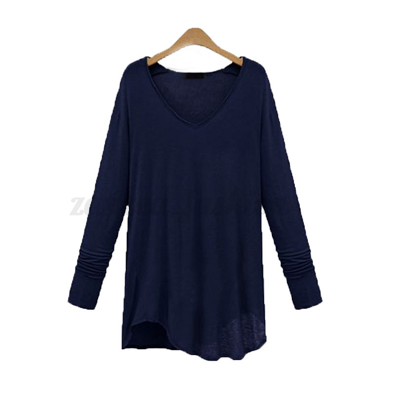 Women Spring V-Neck Solid Plain Long Sleeve Loose Casual Tops T shirt Tee Blouse