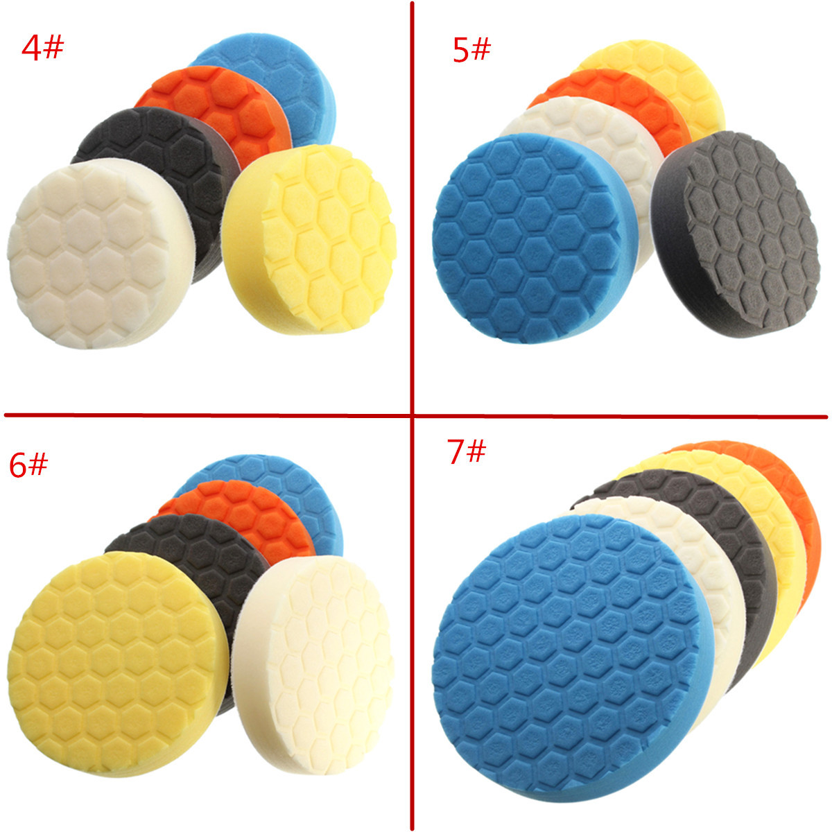 4/5/6/7 Inch Hex-Logic Sponge Polishing Pad Buffing Kit