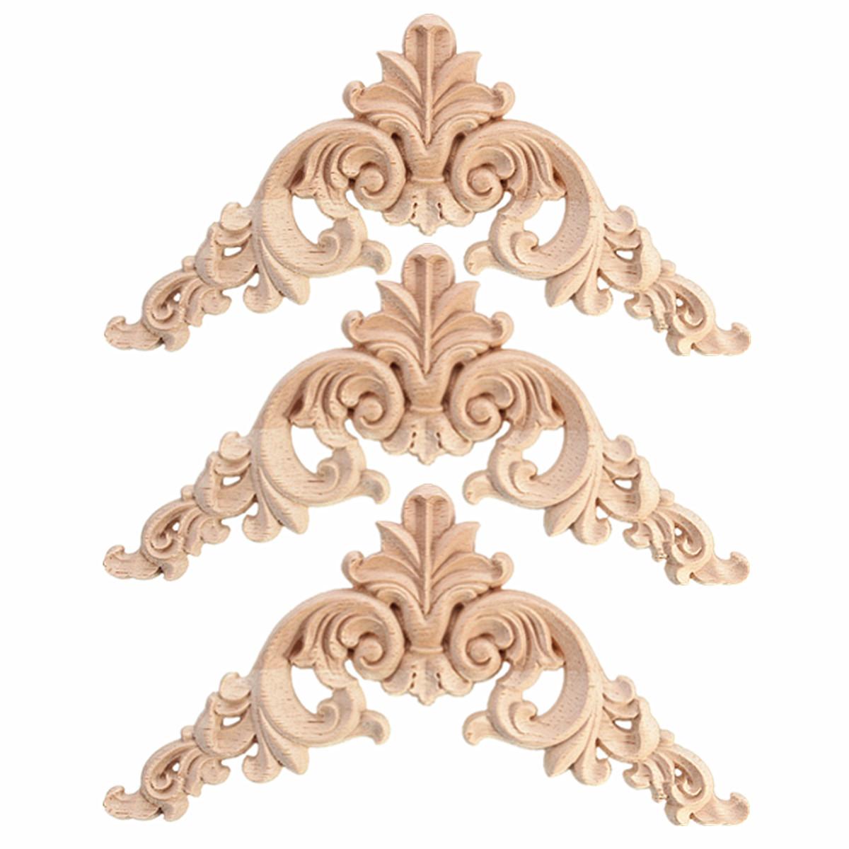 Rubber Wood Oak Carved Corner Onlay Applique