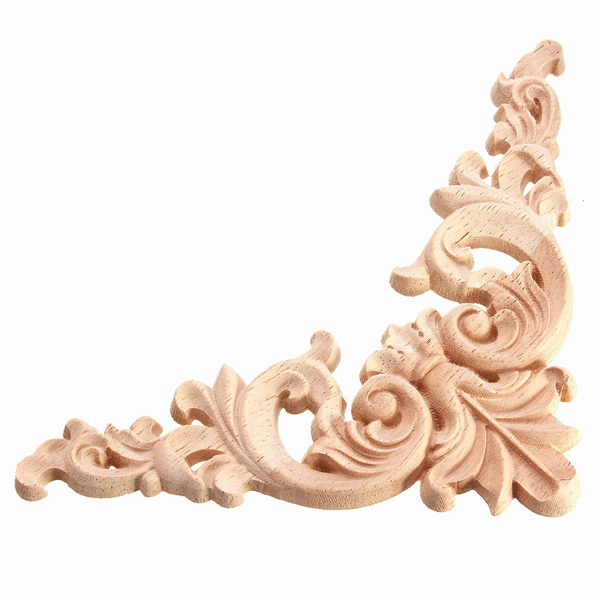 Cm rubber wood oak carved corner onlay applique