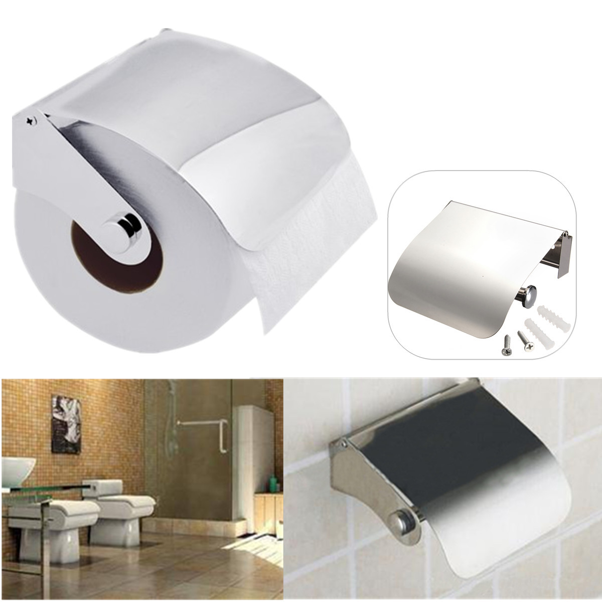 Bathroom stainless steel wall mounted toilet paper holder roll tissue rack bath ebay - Tissue holder bathroom ...