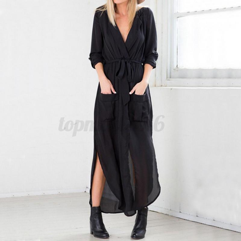 US 4-24W Zanzea Women Long Sleeve Chiffon Cocktail Evening Party Long Maxi Dress