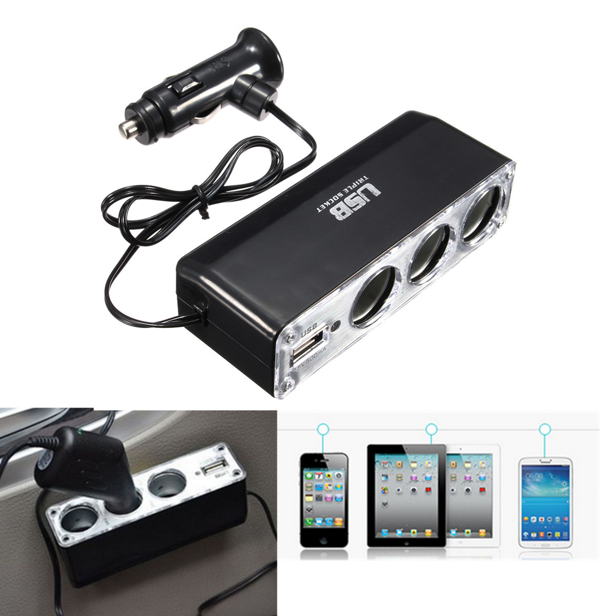 6a 3 ports voiture allume cigare multiprise chargeur for Chargeur mural iphone