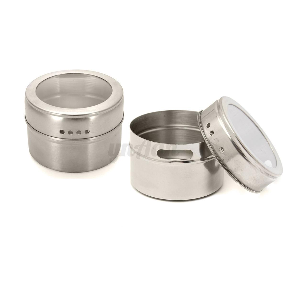 Pr sentoir pices rotatif 6 pot couvercle magnetique - Pot a epice magnetique ...