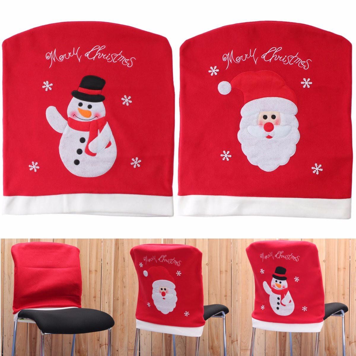 Christmas Chair Back Cover Santa Claus Snowman Dinner