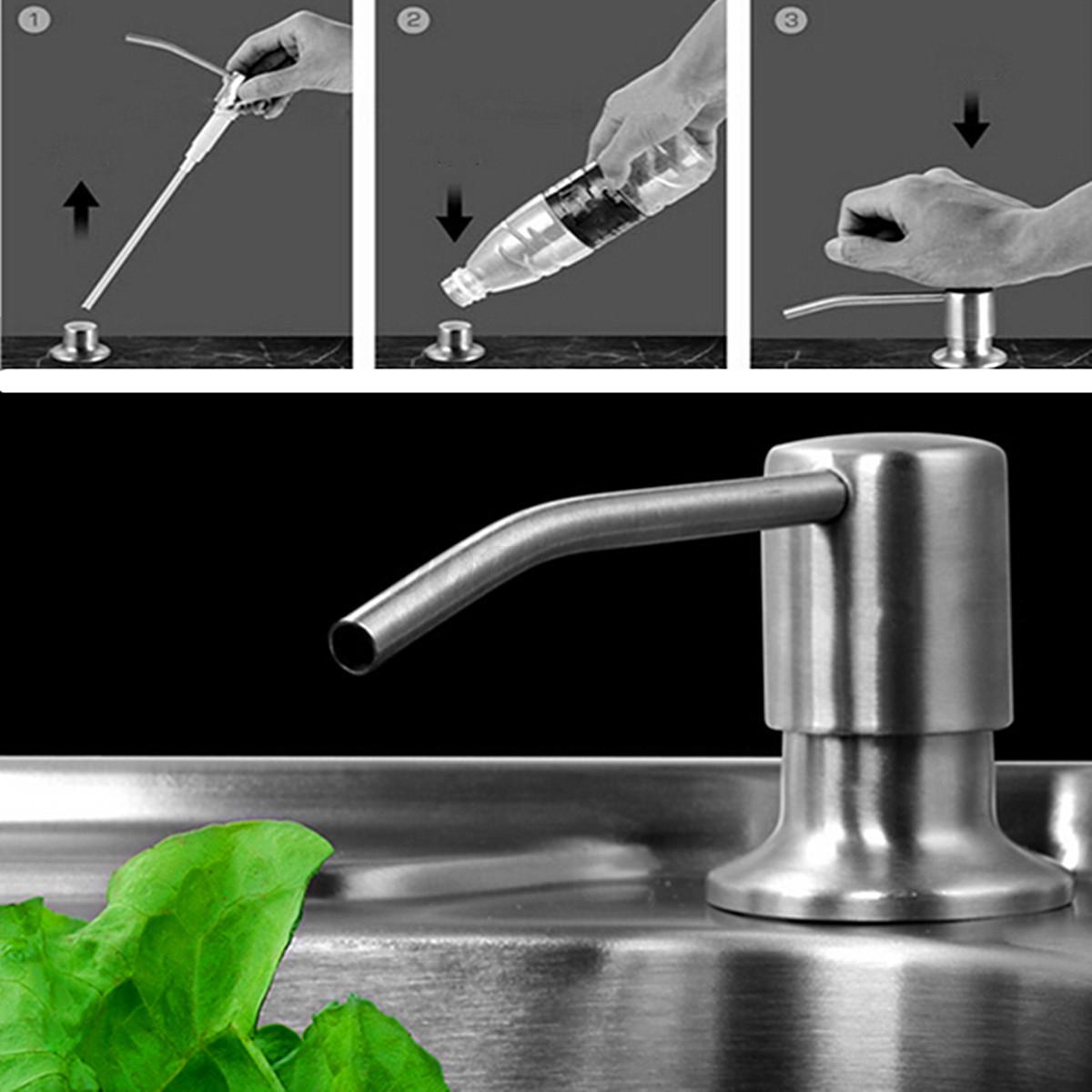 pla 350ml kitchen sink liquid bathroom soap dispenser brushed nickel head bottle. Black Bedroom Furniture Sets. Home Design Ideas