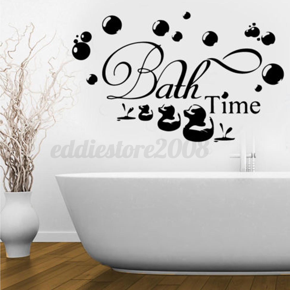 Bathroom Wall Art Bubbles : Bath time ducks bubbles wall stickers decal removable