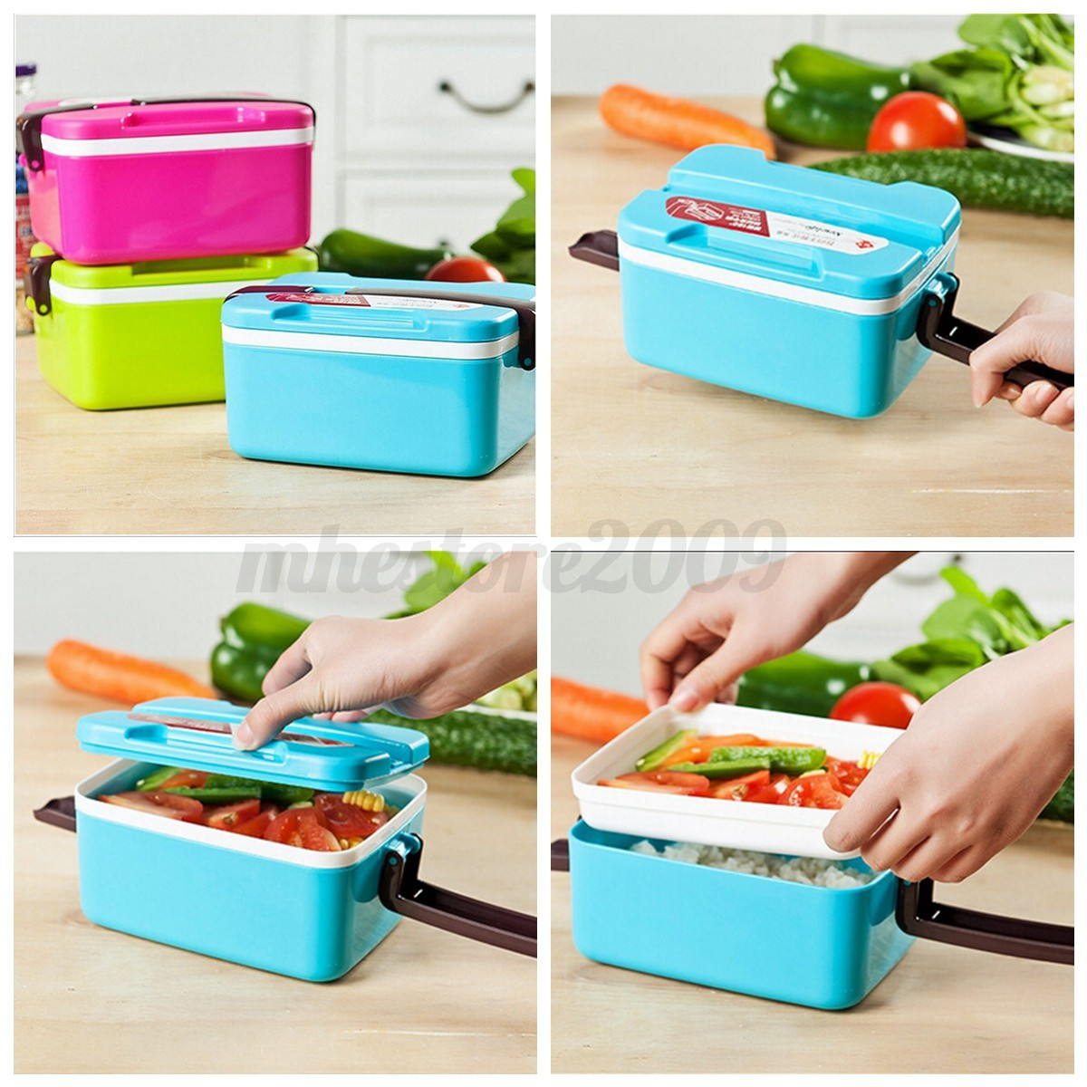 2 layer microwave bento lunch box picnic food container spoon storage w handle ebay. Black Bedroom Furniture Sets. Home Design Ideas