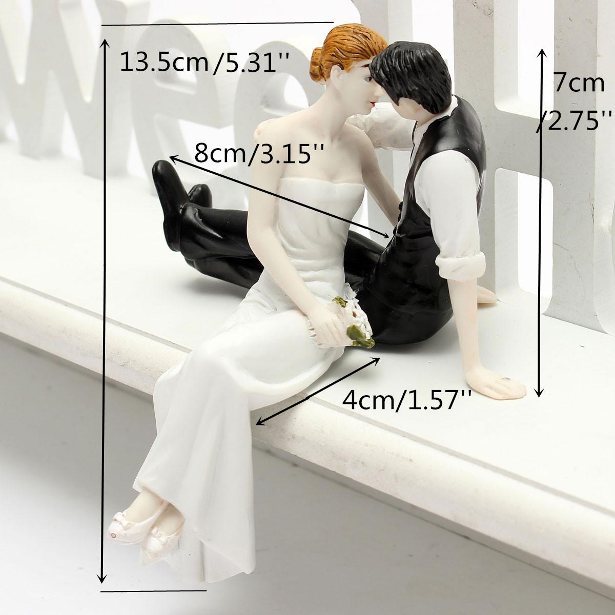 Romantic Bride and Groom Wedding Couple Figurine Kiss