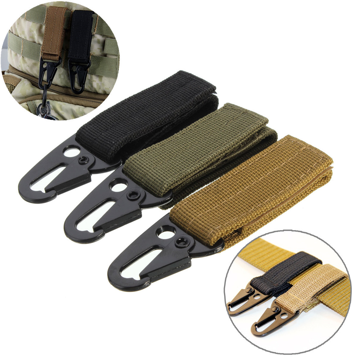 Мужской брелок Nylon Outdoor Tactical Belt Carabiner Key Holder Bag Hook Web Buckle Strap Clip - 311460187909 - (США)