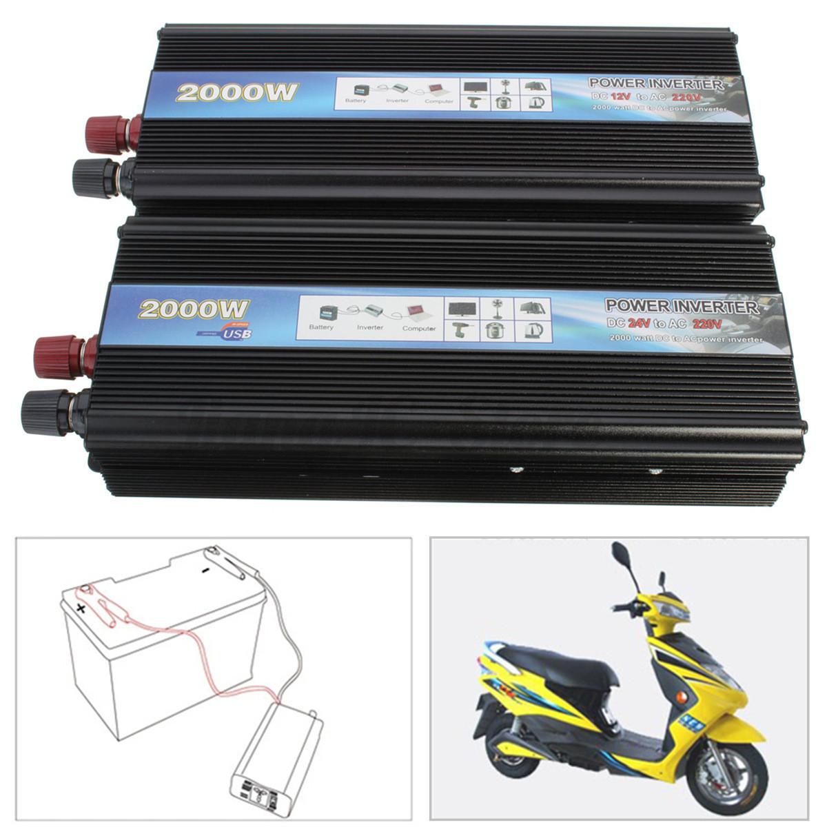 2000w usb dc 12v 24v to ac 220v car vehicle power inverter adapter converter new ebay. Black Bedroom Furniture Sets. Home Design Ideas