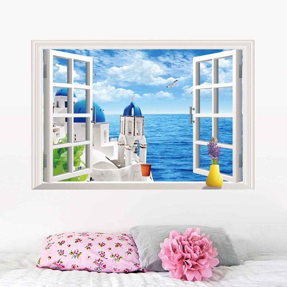 Beach Wall Decor Stickers : D ocean beach window wall sticker decals room decor vinyl