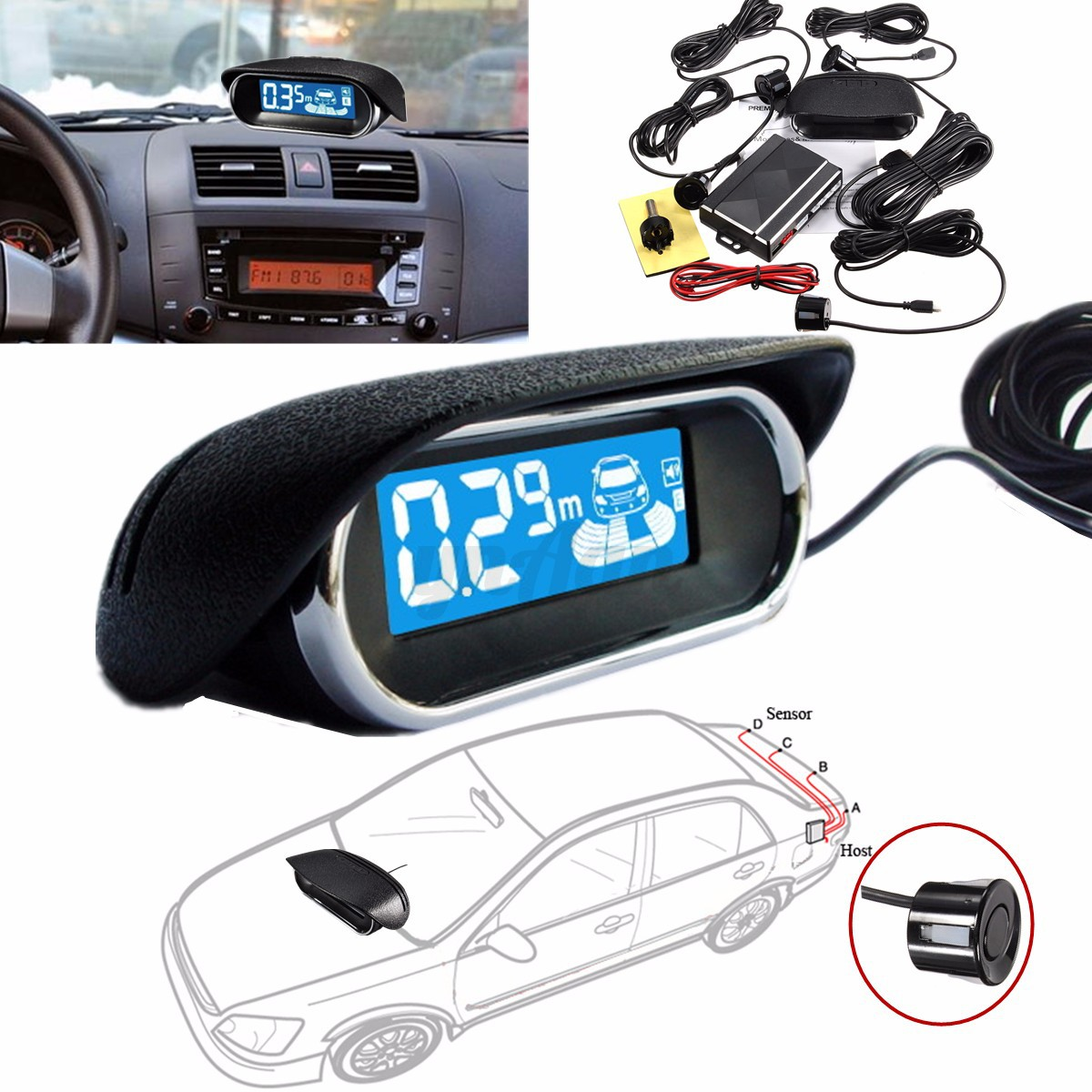 4 capteurs voiture radar de recul syst me led cran parcage car parking buzzer ebay. Black Bedroom Furniture Sets. Home Design Ideas