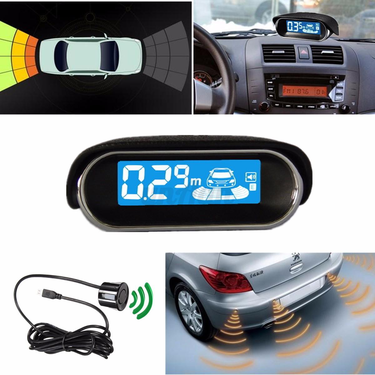 4 capteurs voiture radar de recul syst me led cran parcage car parking buzzer ebay. Black Bedroom Furniture Sets. Home Design Ideas