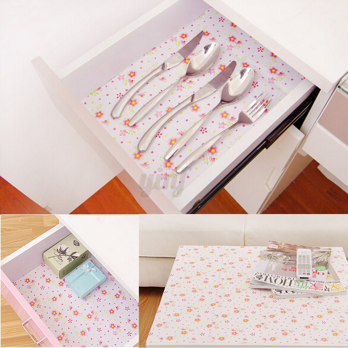 Shelf Paper For Kitchen Cabinets: Flower Dots Shelf Contact Paper Cabinet Drawer Liner