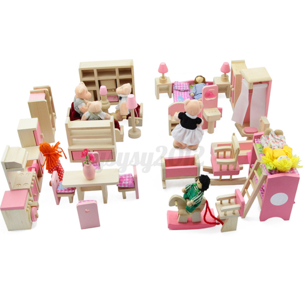 Superb img of Set Rooms   6 Dolls Wooden Furniture Doll House Family Miniature  with #B8A713 color and 1200x1200 pixels