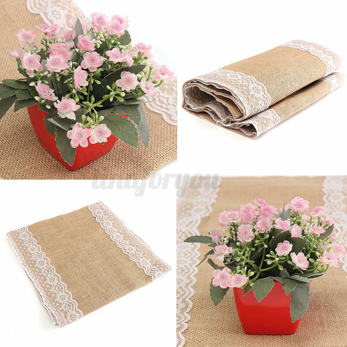 nappe tissu toile de jute dentelle chemin de table no l f te mariage d coration ebay. Black Bedroom Furniture Sets. Home Design Ideas