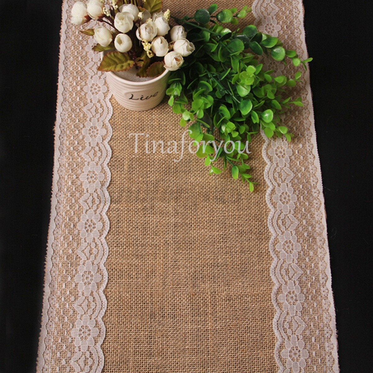 245cm nappe en toile de jute dentelle chemin de table mariage no l neu ebay. Black Bedroom Furniture Sets. Home Design Ideas