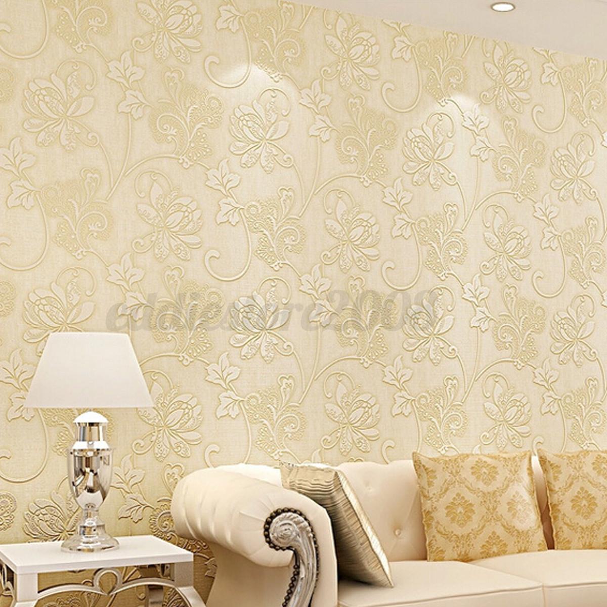 Floral flower 3d embossed textured flocked non woven for 3d embossed wallpaper