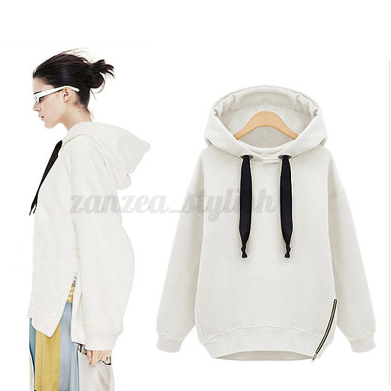 Women Long Sleeve Sweatshirt Hooded Hoodies Zipper Jacket Coat Sweater Jumpers