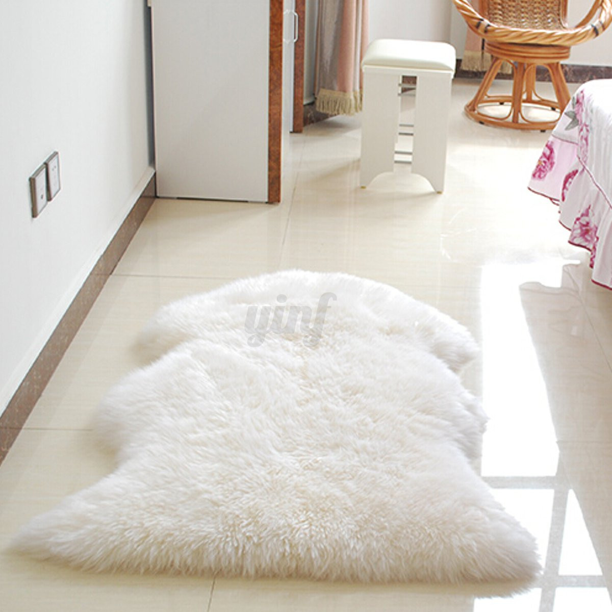 Plain Soft Fluffy Bedroom Faux Fur Fake Single Sheepskin
