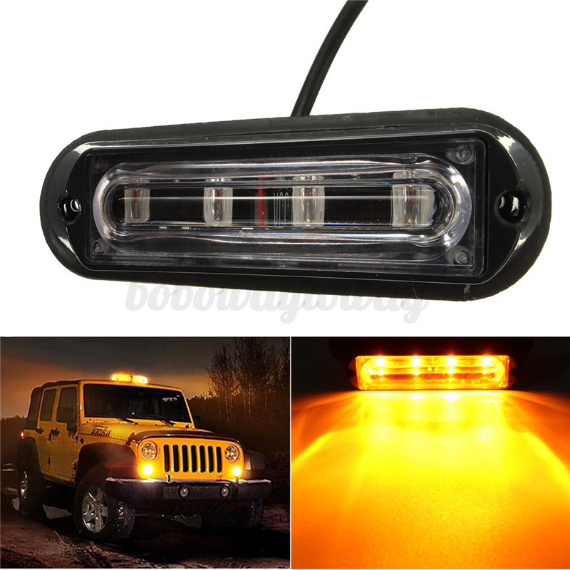 4 led auto kfz truck strobe flash light drl beleuchtung blitz leuchte amber gelb ebay. Black Bedroom Furniture Sets. Home Design Ideas