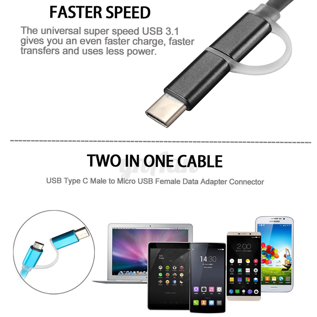 2 in 1 micro usb data charger cable with usb 3 1 type c adapter for mobile phone. Black Bedroom Furniture Sets. Home Design Ideas