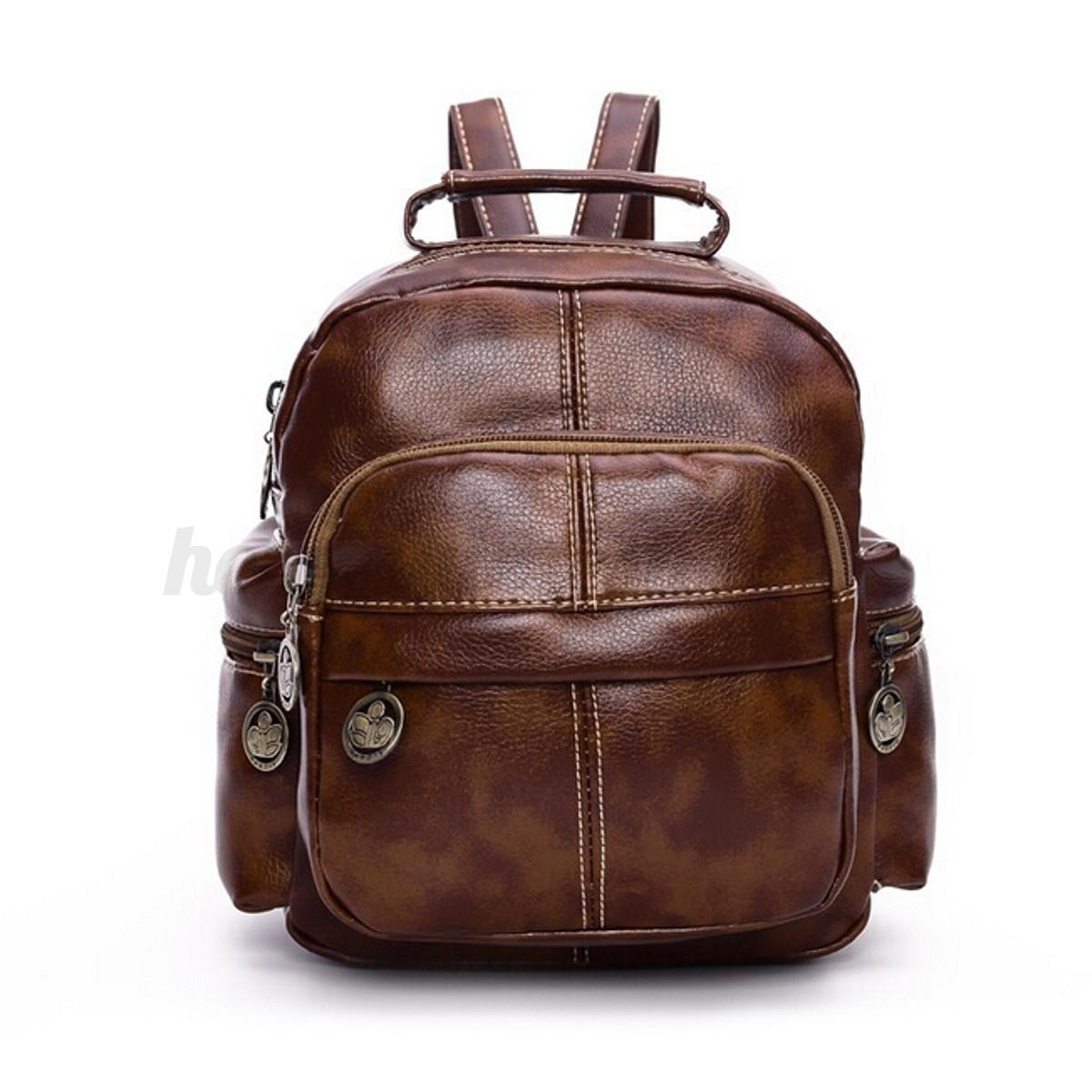 Fashion Women Vintage Mini Leather Travel Backpack Tote Rucksack ...