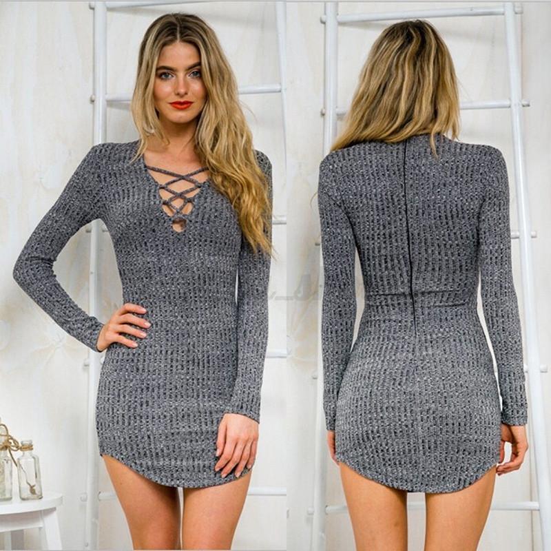 New Women Winter Lace Up Long Sleeve Slim Sweater Jumper Knit Bodycon Mini Dress