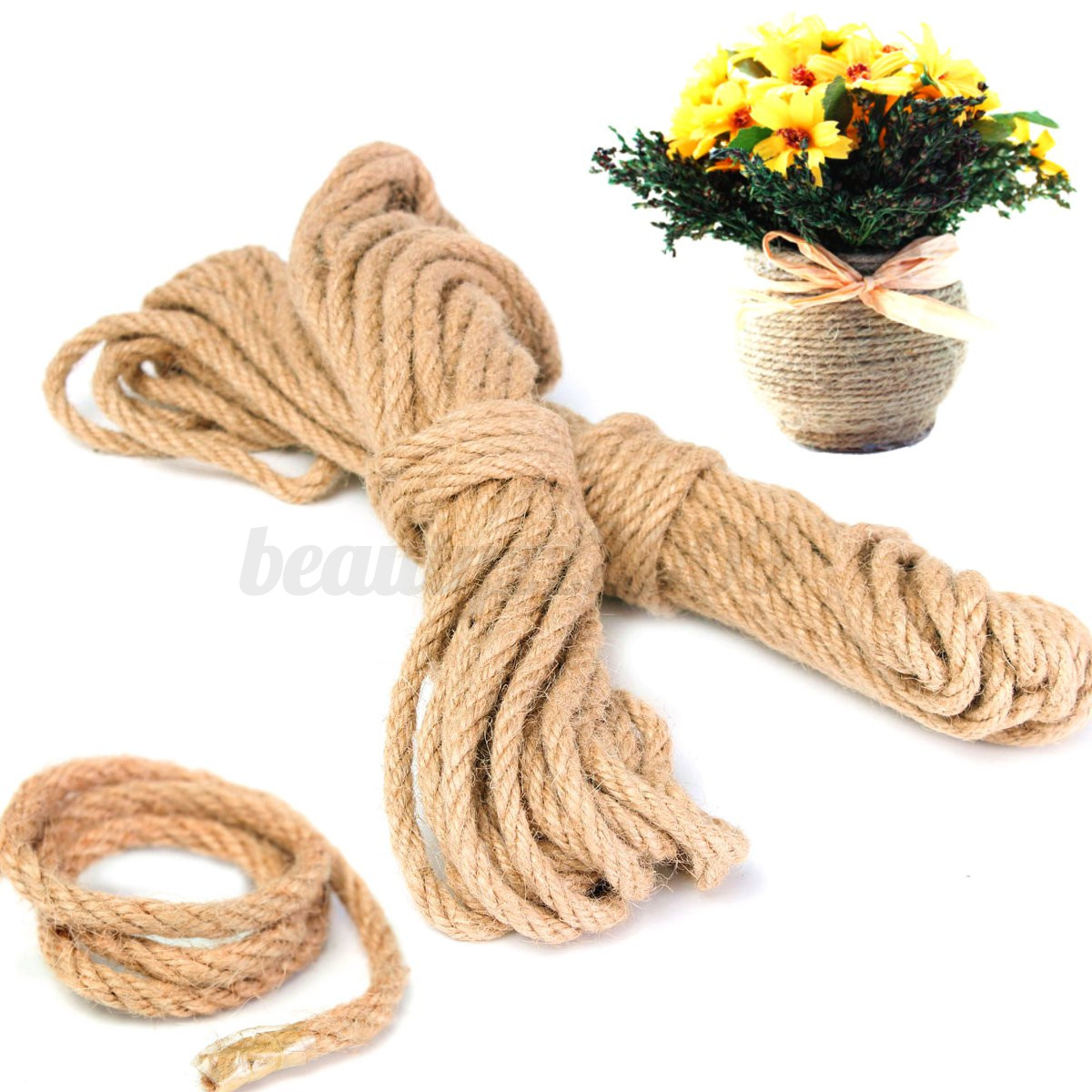 2pcs 10m long jute twine natural hemp bound string rope thick 6mm diy home decor ebay Home decoration with jute