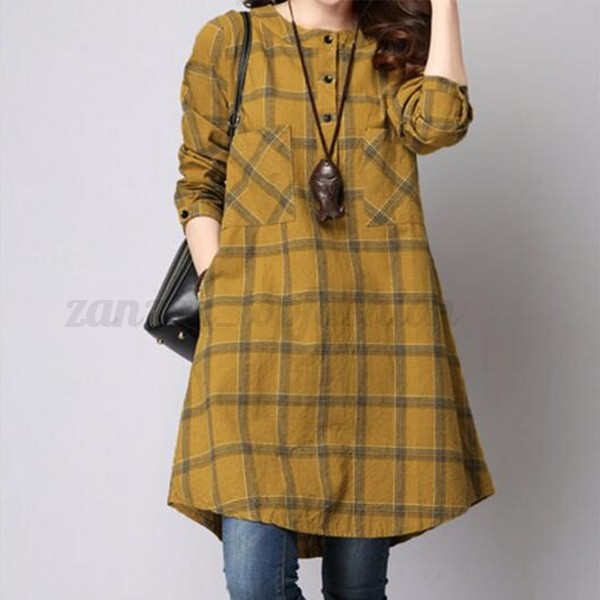 Vintage Womens Oversized Plaid Grid Long Tops Loose Evening Party Pullover Dress