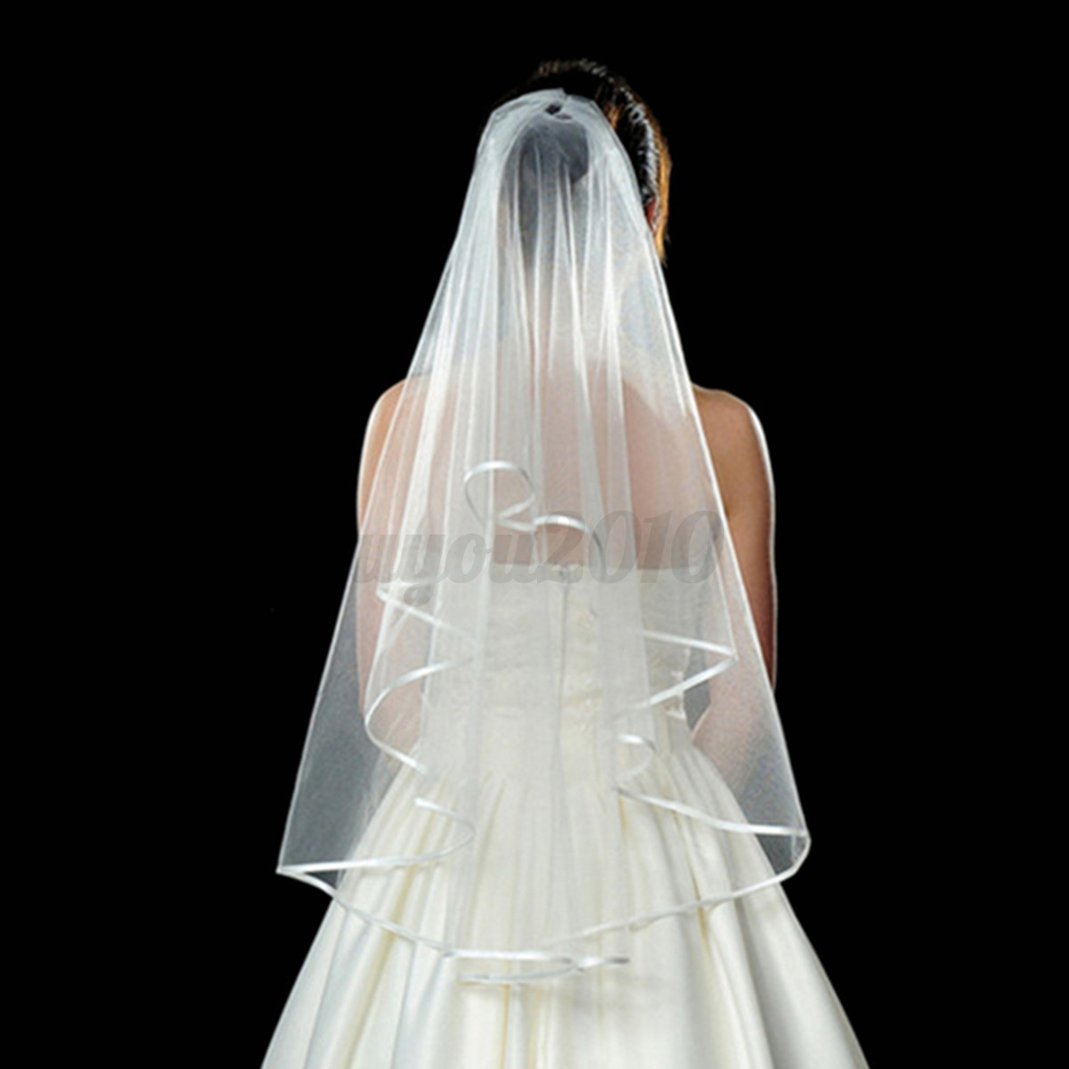 3 Tier Wedding Bridal Elbow Short Length Satin Edge Veil