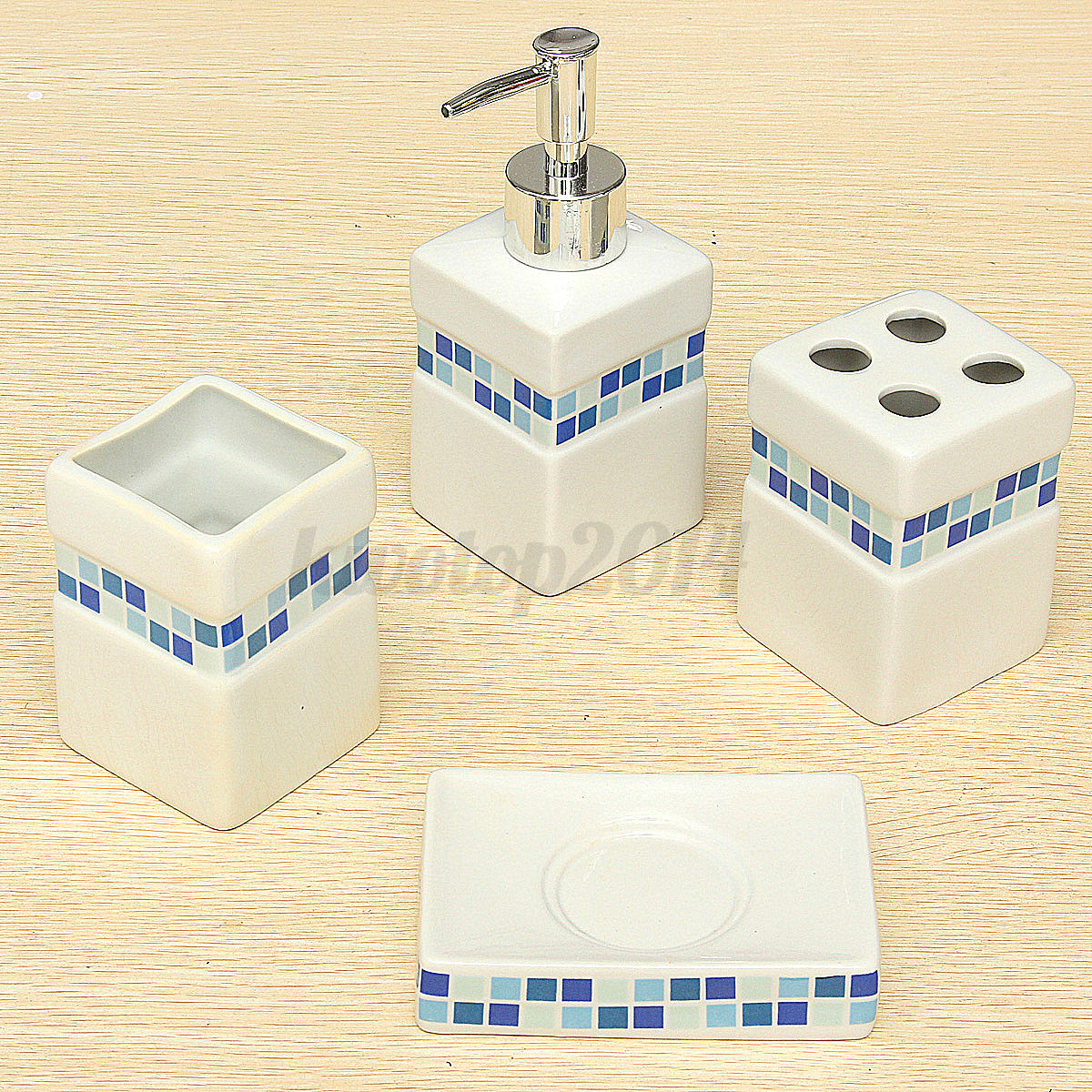 4x blue mosaic withe square ceramic porcelain bath for Mosaic bathroom set