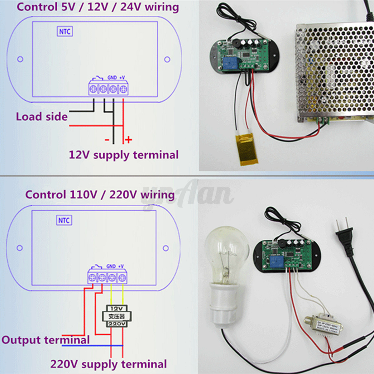 Details about DC 12V Heat Cool Thermostat Temperature Alarm Controller  #7D297D