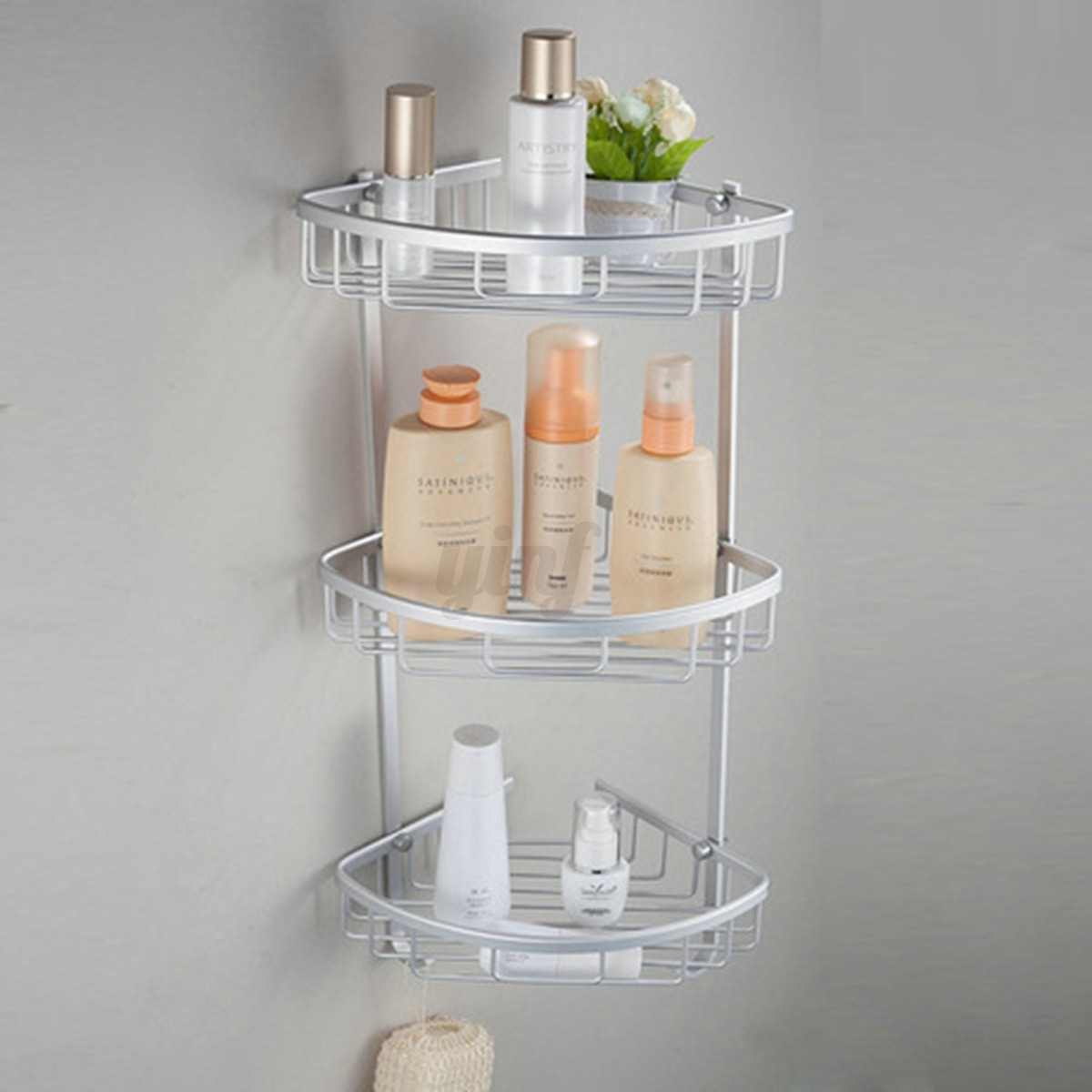 1 3 tier shower bathroom shelf corner rack organiser caddy - Bathroom storage baskets shelves ...
