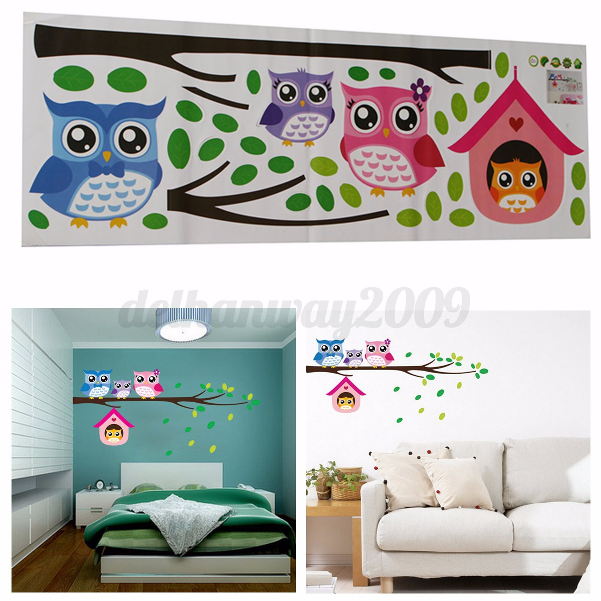 Removable Birds Owl Trees Branches Bedroom Living Room