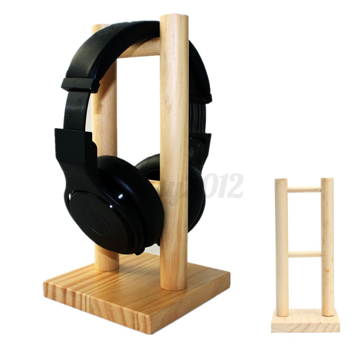 Wooden headset earphone headphone h shape display stand hanger holder rack ebay - Wooden headphone holder ...