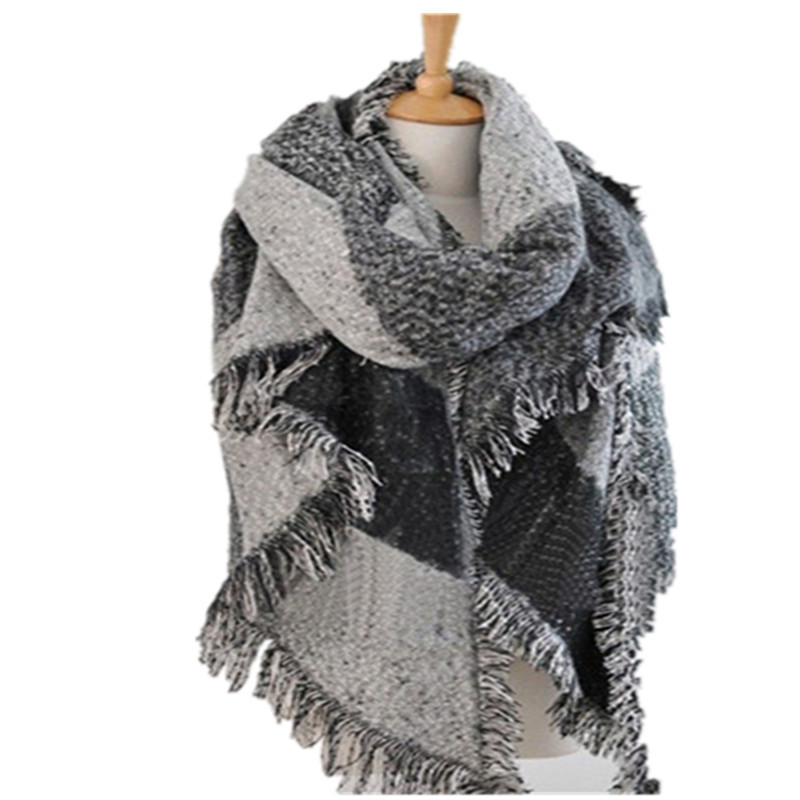 Knitting Pattern Tartan Scarf : Women Lady Winter Plaid Checked Knit Blanket Oversized Tartan Scarf Wrap Shaw...