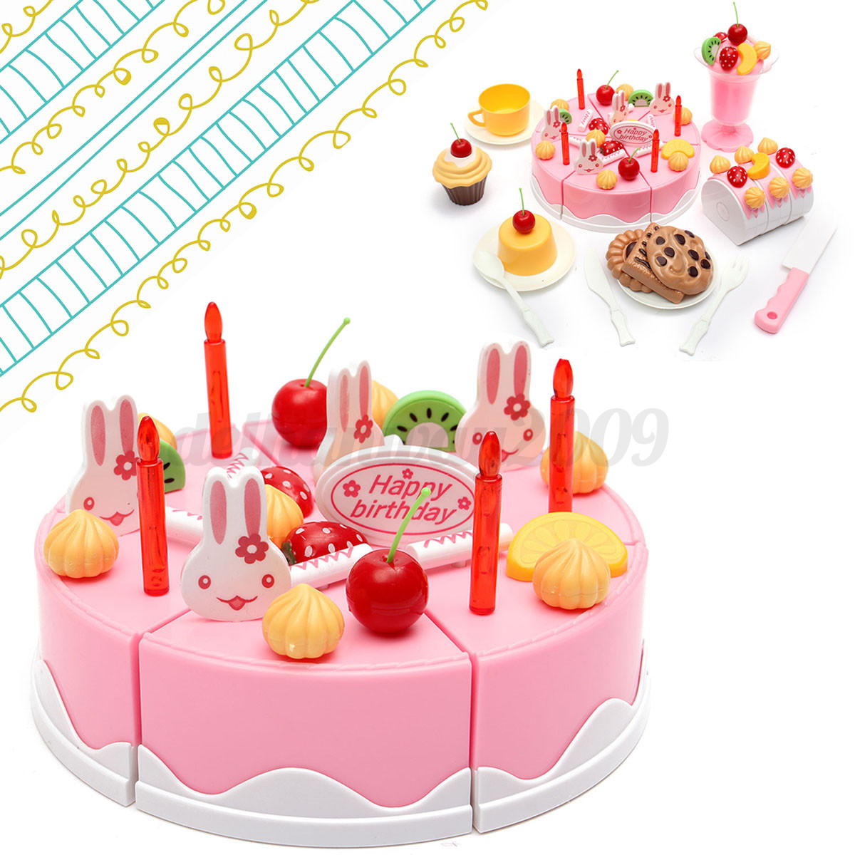 75pcs Birthday Cake Set Pretend Play For Kids Kitchen Play