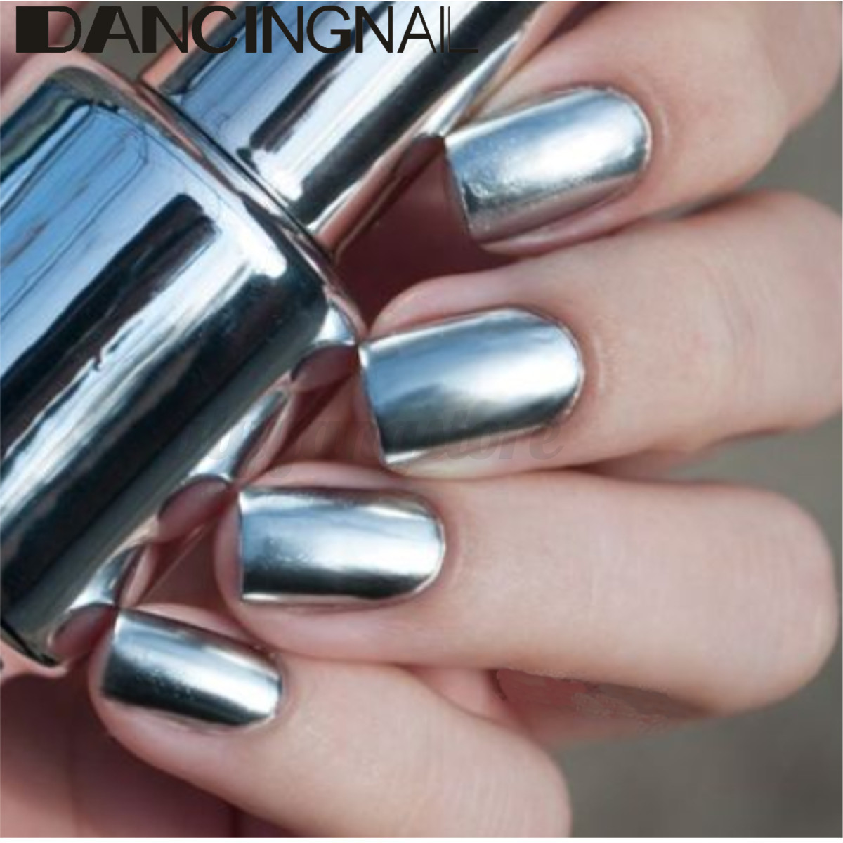 Mirror Effect Gel Nail Polish: 2pcs 15ml Metallic Mirror Effect Metal Silver Nail Polish