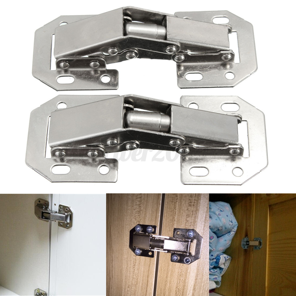 2pcs 90 degree concealed kitchen cabinet cupboard spring for Kitchen cabinet hinges