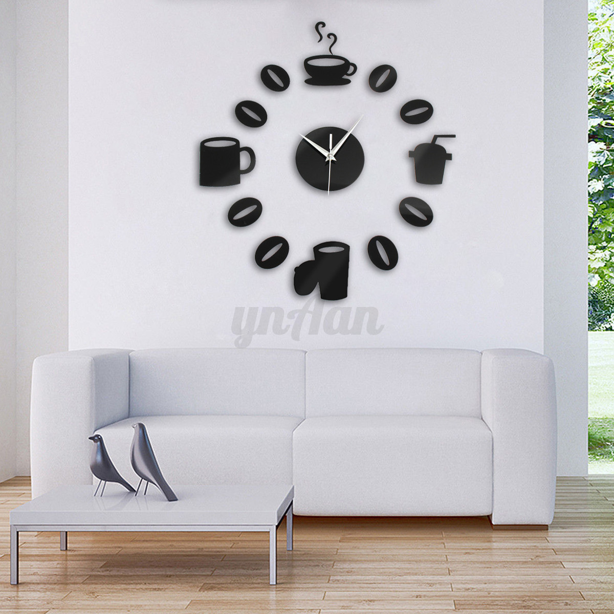 Modern Art Decor Wall Clock Sticker : Diy modern coffee time wall clock d mirror sticker home