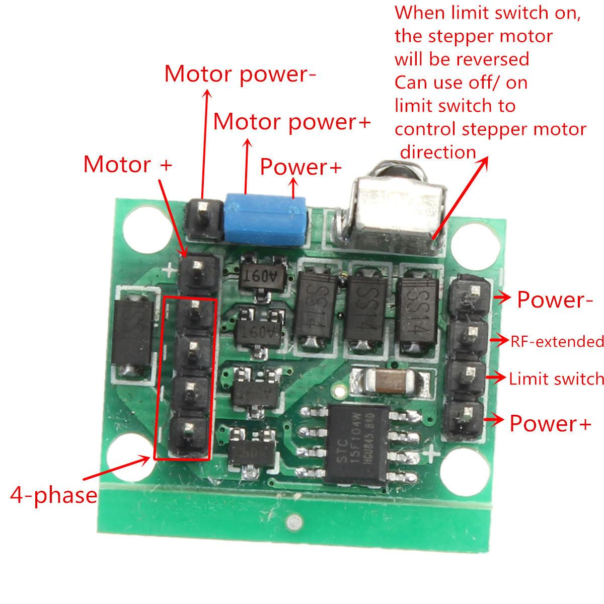 Dc 4 Phase 5 Wire Stepper Motor Driver Board Remote