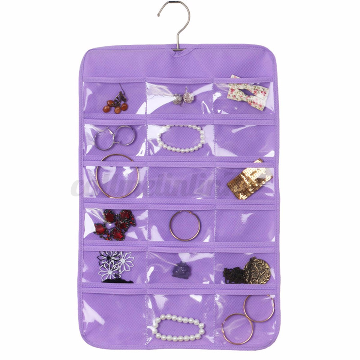 24 pochettes sac de rangement pr sentoir bijoux organisateur mural suspendu ebay. Black Bedroom Furniture Sets. Home Design Ideas
