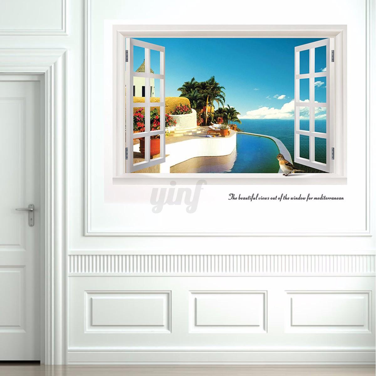 Grande effetto 3d adesivo muro vista finestra spiaggia - Adesivo murale finestra ...